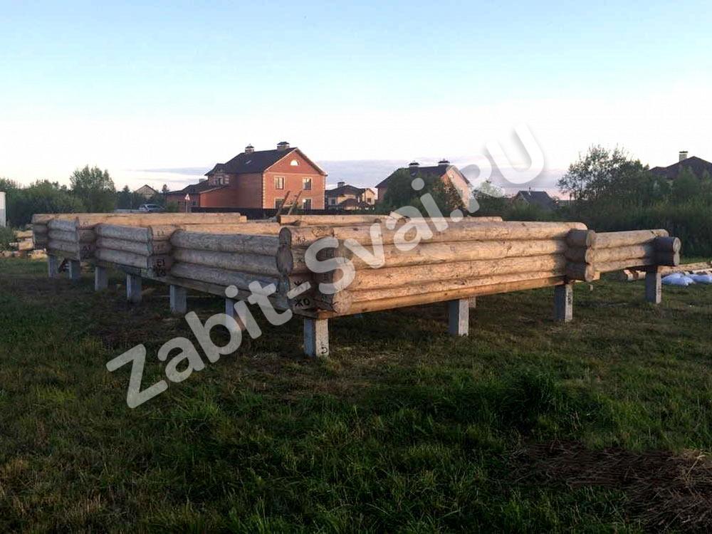 на железобетонных сваях с обвязкой брусом - Строительство фундамента в Чехове